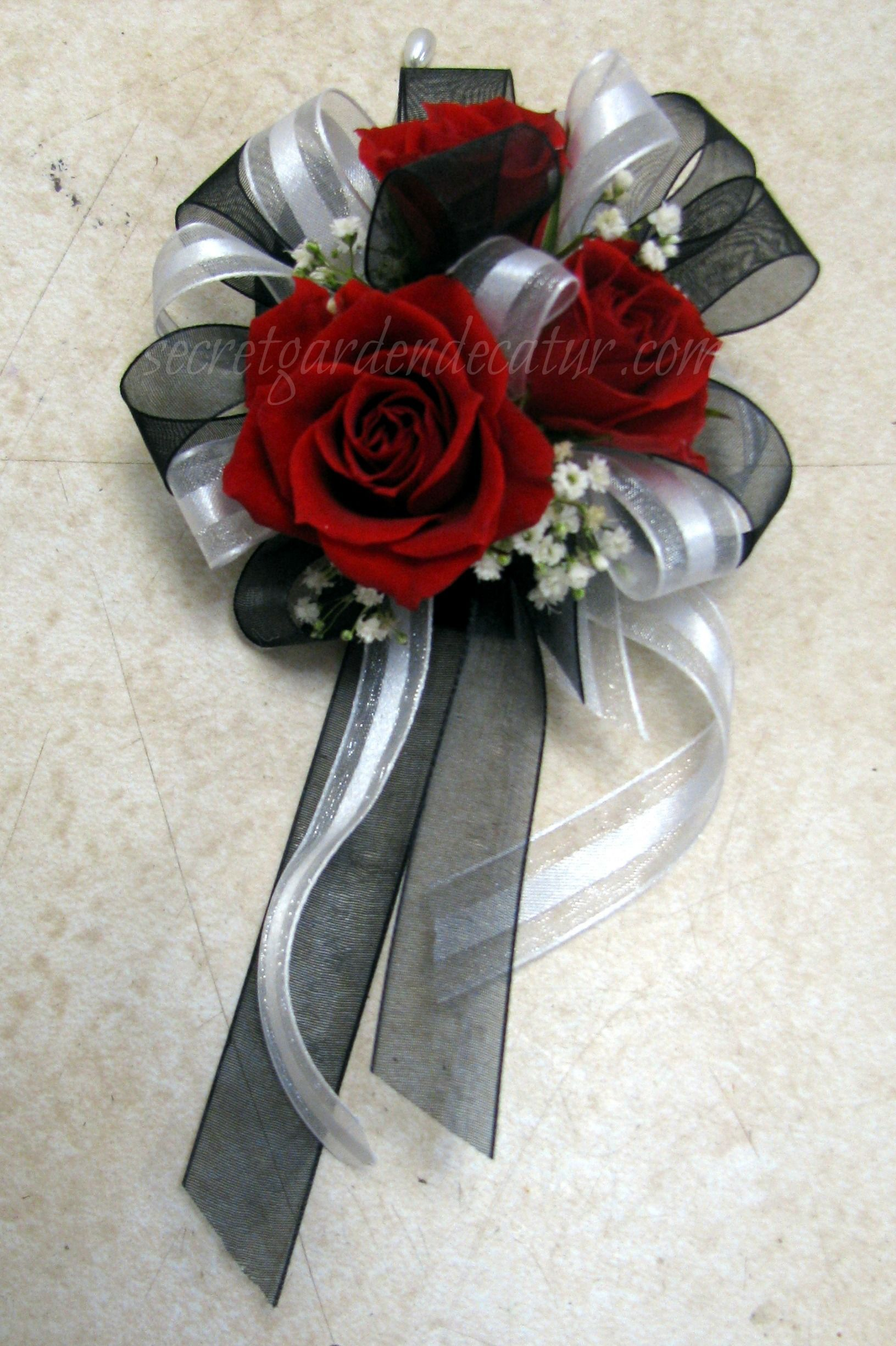 For The Moms Pin On Corsages With Shear White And Black Ribbon