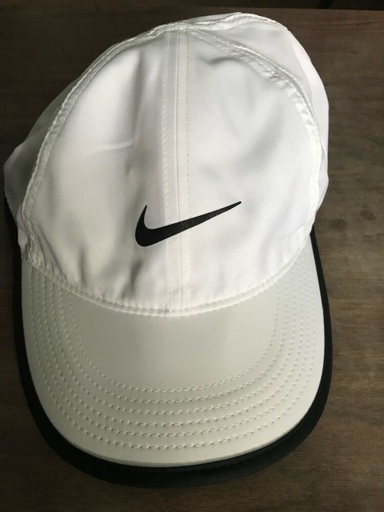 c6bbc1904b1 NIKE Dri-Fit Feather Athletic Light Running Tennis Golf Hat Cap White Black   90
