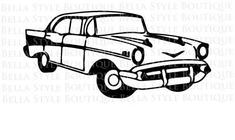 1954 Chevy Bel Air Side View Vinyl Decal Your Color Choice Sticker