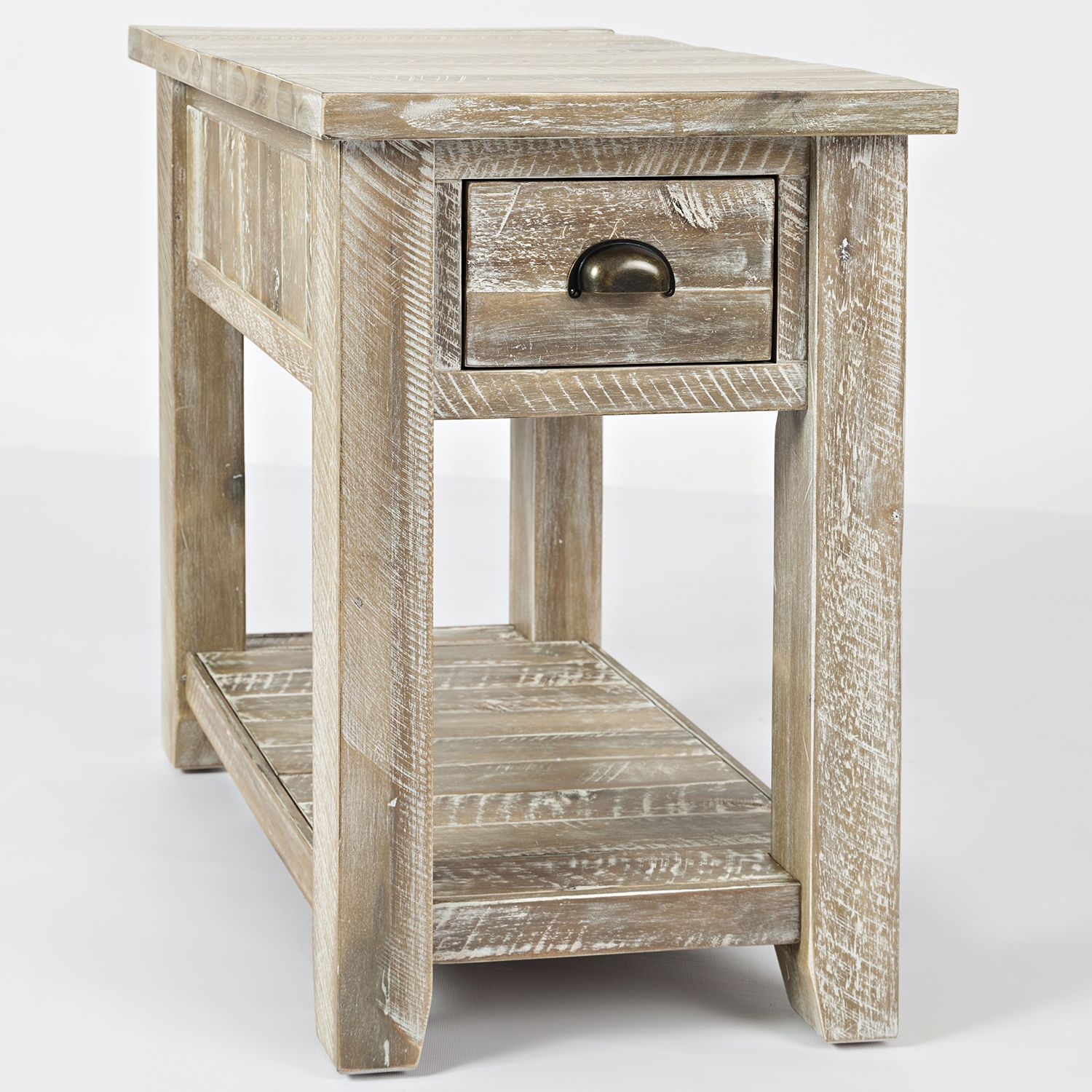 Jofran S Craft Chairside End Table Washed Grey In