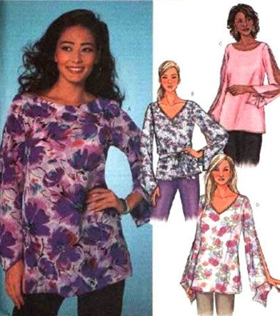 Plus Size TOPS Sewing Pattern - Misses Loose Fitting Tunics & Belt OOP
