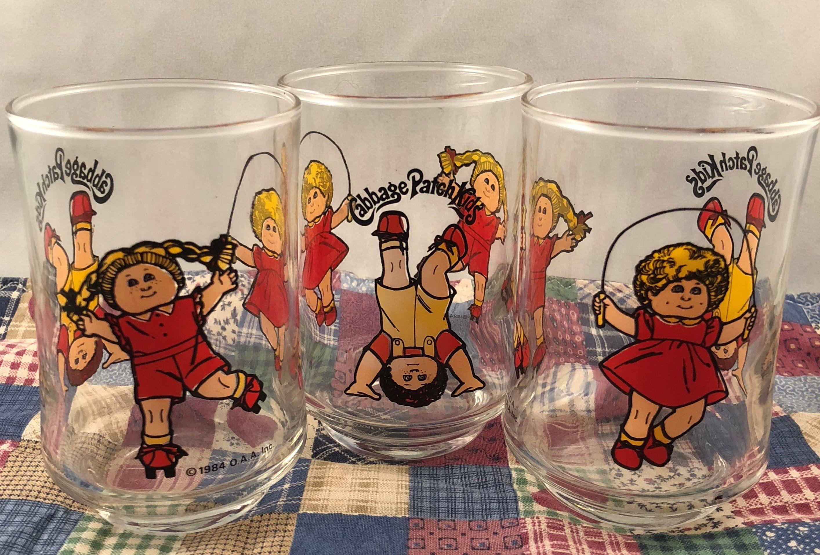 Set Of Three 1984 Cabbage Patch Kids 4 Oz Juice Glasses Cabbage Patch Kids Kids Glasses Jump Rope