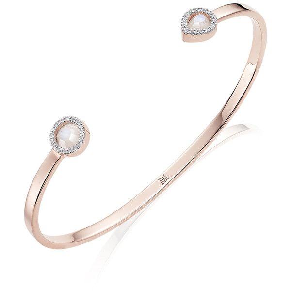MONICA VINADER Naida Diamond Cuff (€515) ❤ liked on Polyvore featuring jewelry, bracelets, diamond bangle, diamond jewellery, cuff jewelry, diamond cuff bangle and monica vinader
