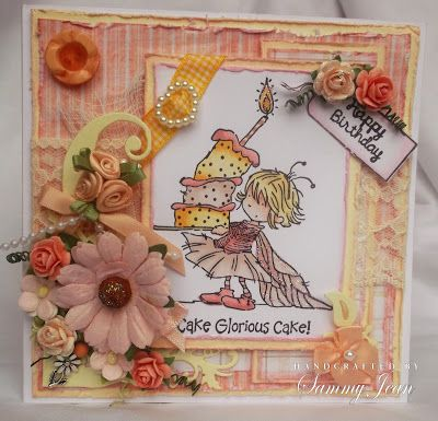 Girlie birthday card with Lili of the valley stamp and papers