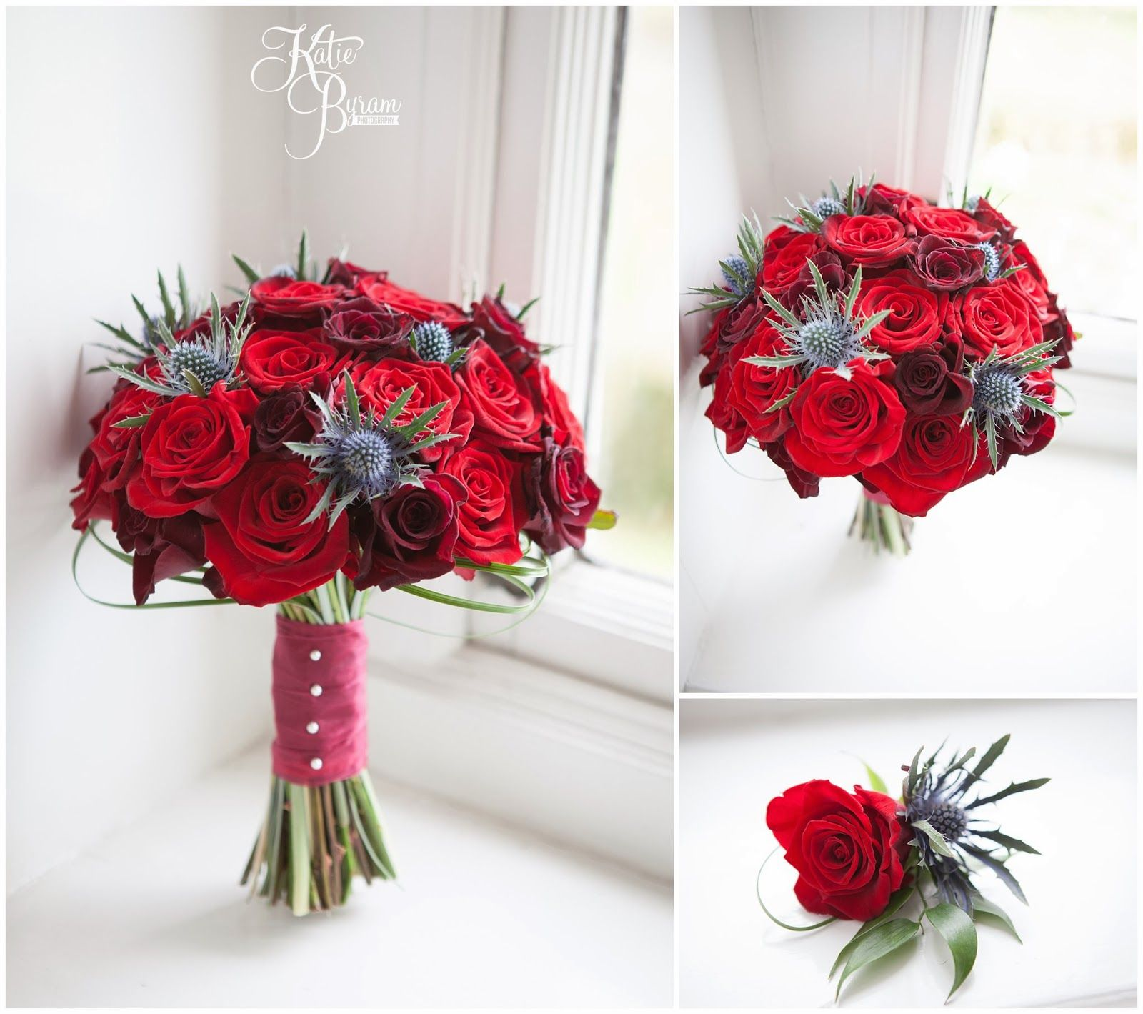 red rose and thistle bouquet and boutonniere | Ramos de novia y ...