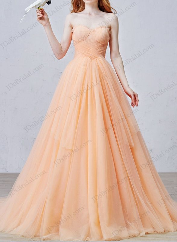 IS057 Uniqe Peach Color Soft Tulle Ball Gown Wedding Dress Online