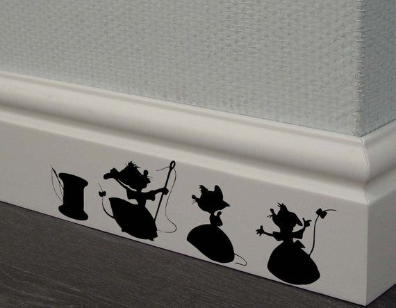 Cinderella 3 mice Decal,Disney Home Decor,Disney Wall Decal,Disney Wall Sticker,Kids Wall Decal,Kitchen Decal,skirting board decals #disneyrooms