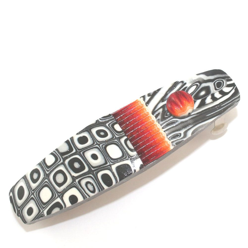 Elegant barrette with retro pattern,black, red and white barrette, polymer clay barrette, hair jewelry for women and girls. by ShuliDesigns on Etsy