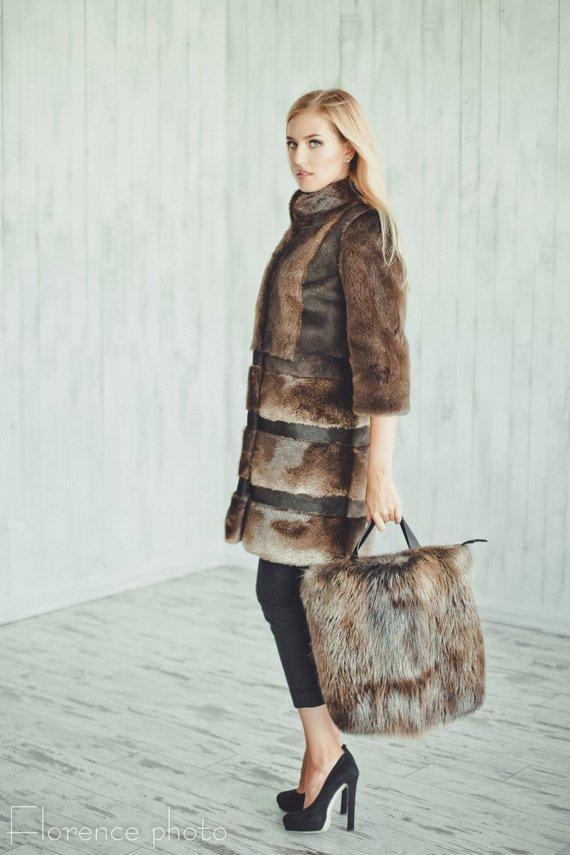 d7490a05470 Brown real Fur coat Fur jacket for women Long coat Winter coat Woman ...