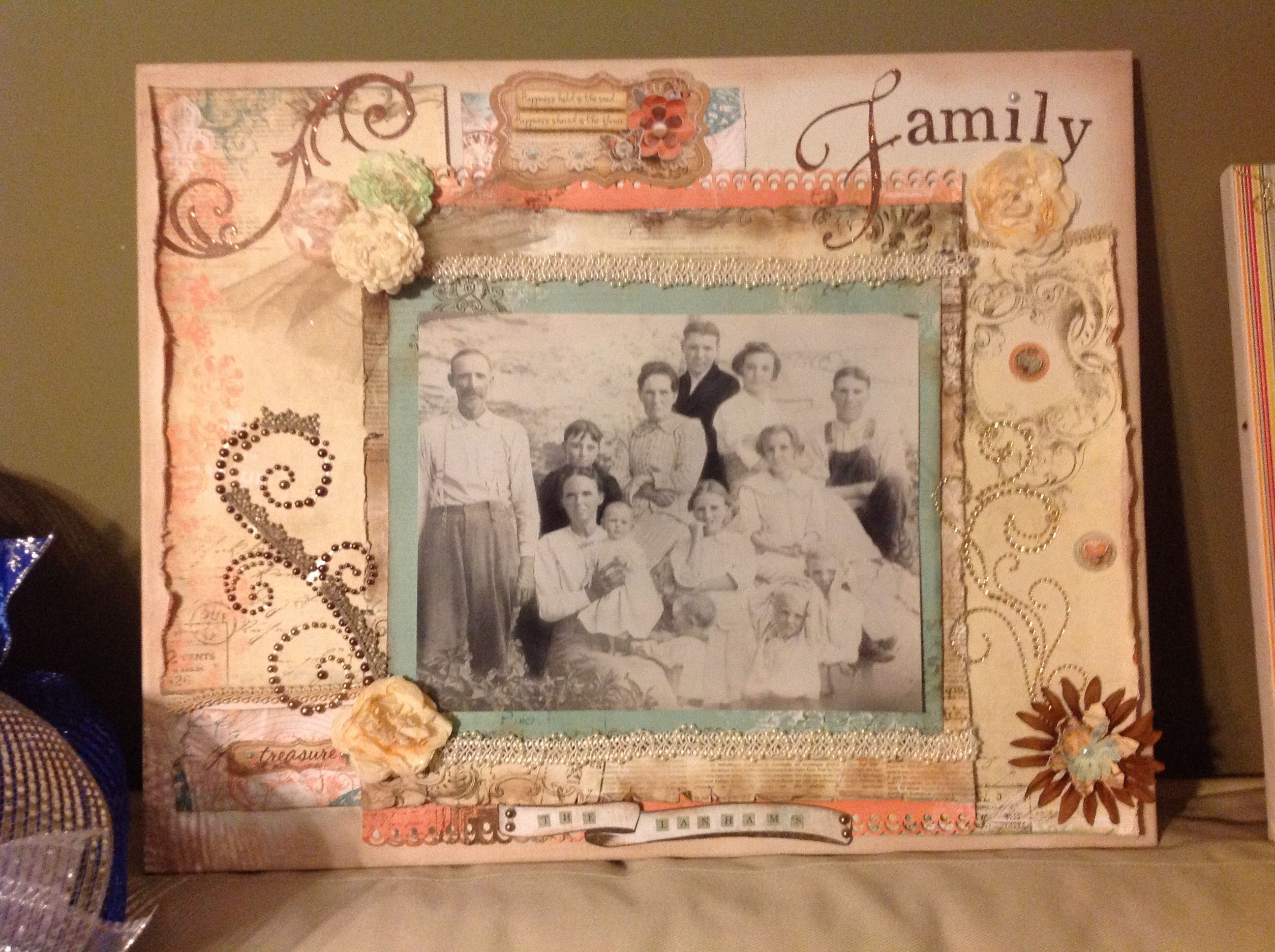 How to scrapbook canvas - Scrapbook Canvas That I Made With An Old Family Portrait That My Aunt Lois Gave Me