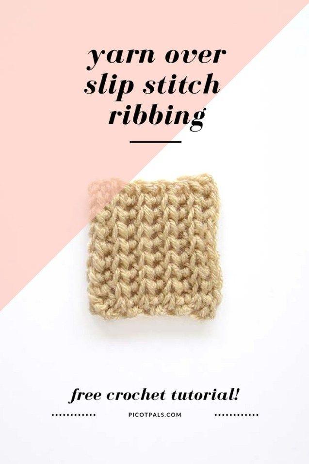 Yarn Over Slip Stitch Ribbing #slipstitch