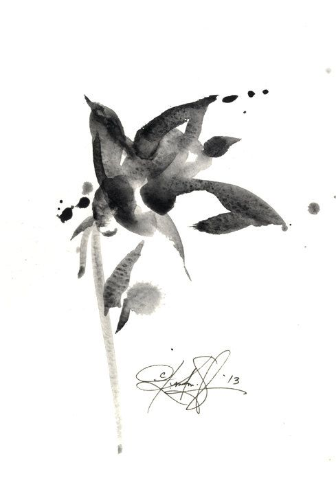 Brushstroke Floral ... Series No.10 ... Original Abstract Minimalist Flower Painting by Kathy Morton Stanion EBSQ
