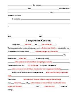 writing a compare and contrast essay 6th grade