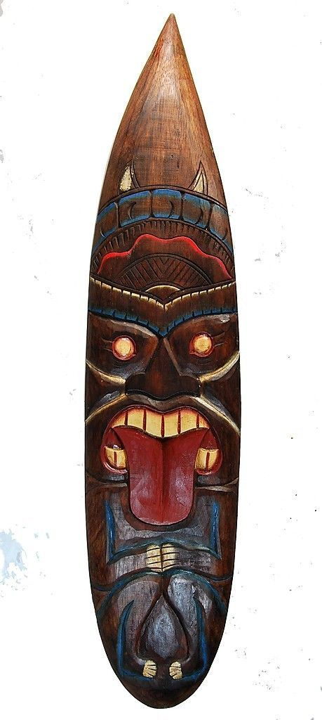 Deko Surfboard 100cm Tiki Devil Deko Surfbrett Hawaii Mauii Kaui