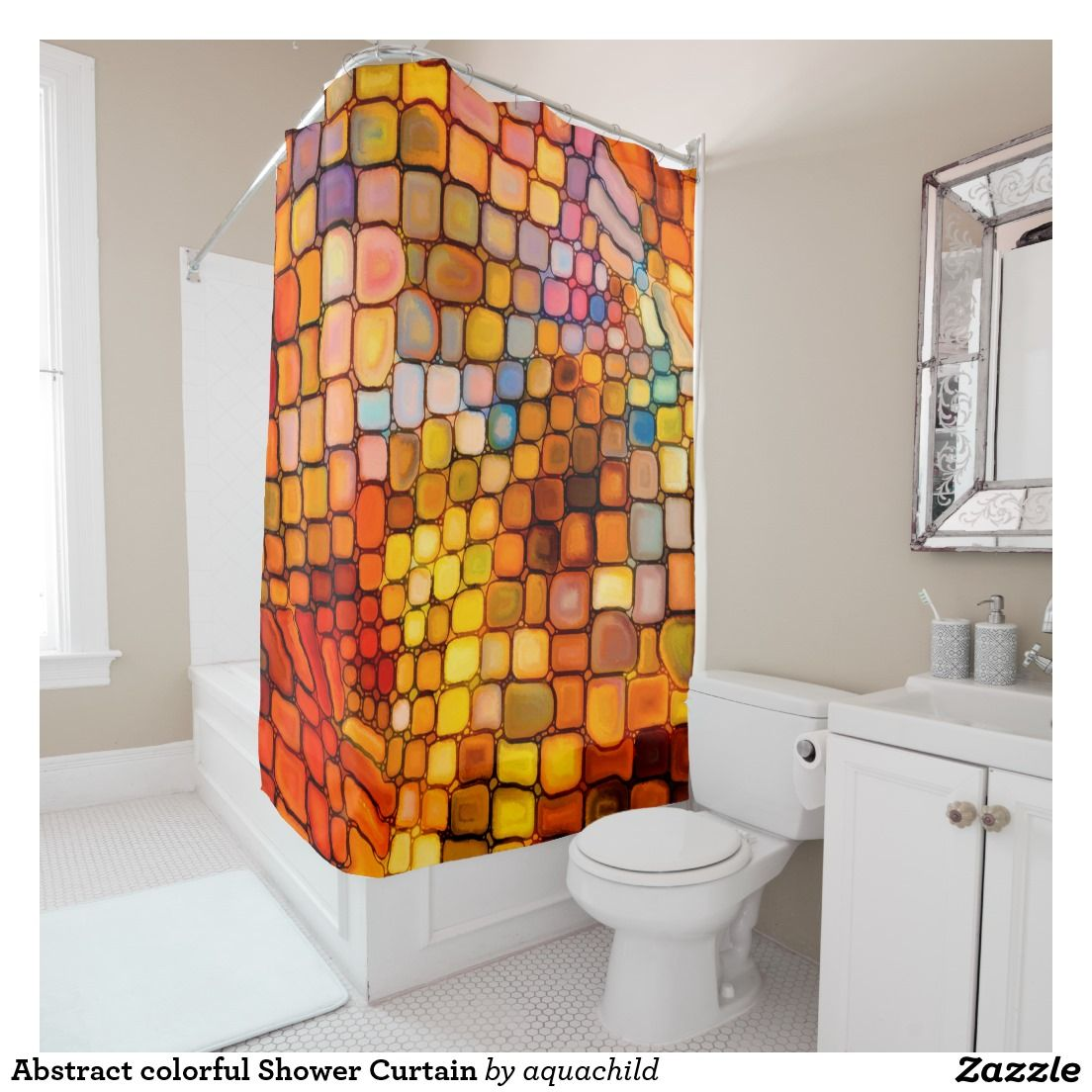 Abstract colorful Shower Curtain | Window