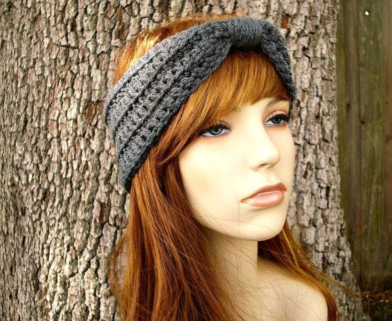 Items similar to Womens Crochet Headband - Crochet Turban Headband Medium Charcoal Grey Headband - Grey Turban Womens Hair Accessories - Womens on Etsy  Crochet Turban Headband in Medium Charcoal Grey  #accessories #Charcoal #Crochet #Etsy #Grey #hair #Headband #Items #Medium #similar #Turban #Womens
