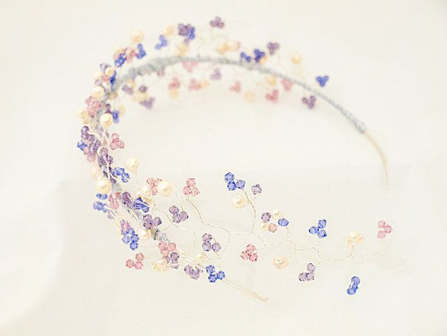 Purple Pink Side Tiara With Hair Vine Bridal Statement Wedding Headdress GBP11999