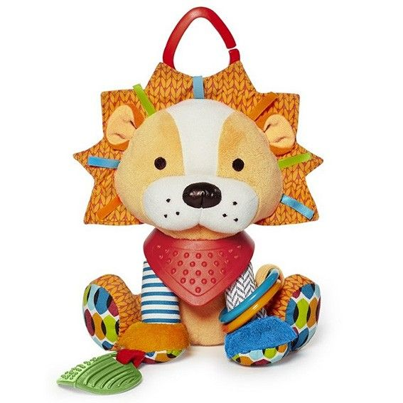 Little hands stay active with this colourful character as baby explores patterns, textures and sounds. Ideal for fun at home or on-the go, this cute companion rattles, crinkles and has a soft bandana teether for multi-sensory play.