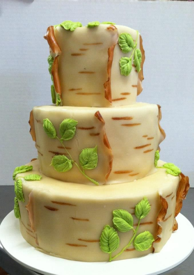 Simple birch bark cake with marzipan | Wuollet Bakery Tier Cakes ...