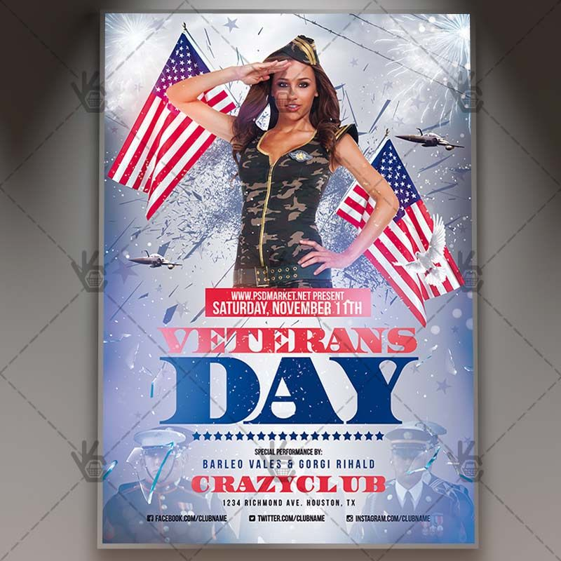 Veterans Day - American Flyer PSD Template #4thofjuly #american - independence day flyer