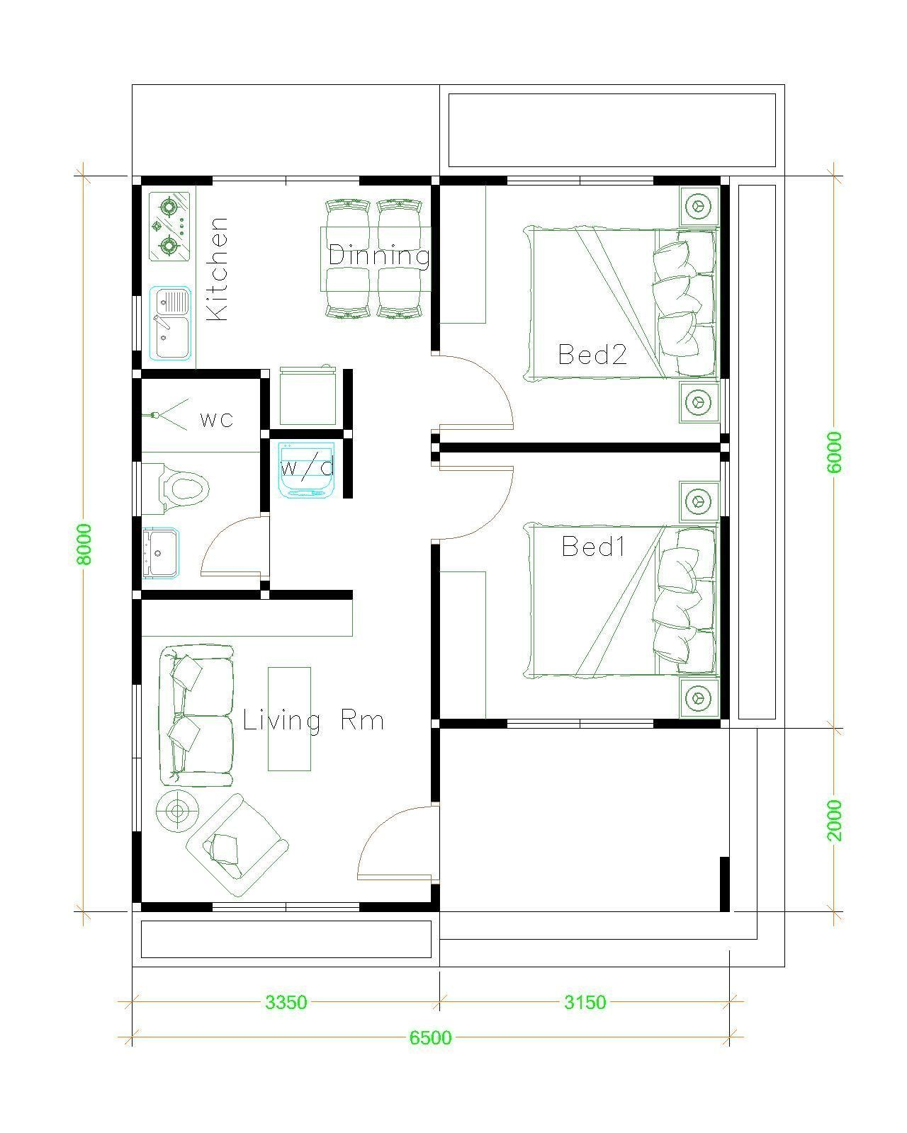 Small House Plans 6.5x8 with 2 Bedrooms Shed Roof - Sam ...