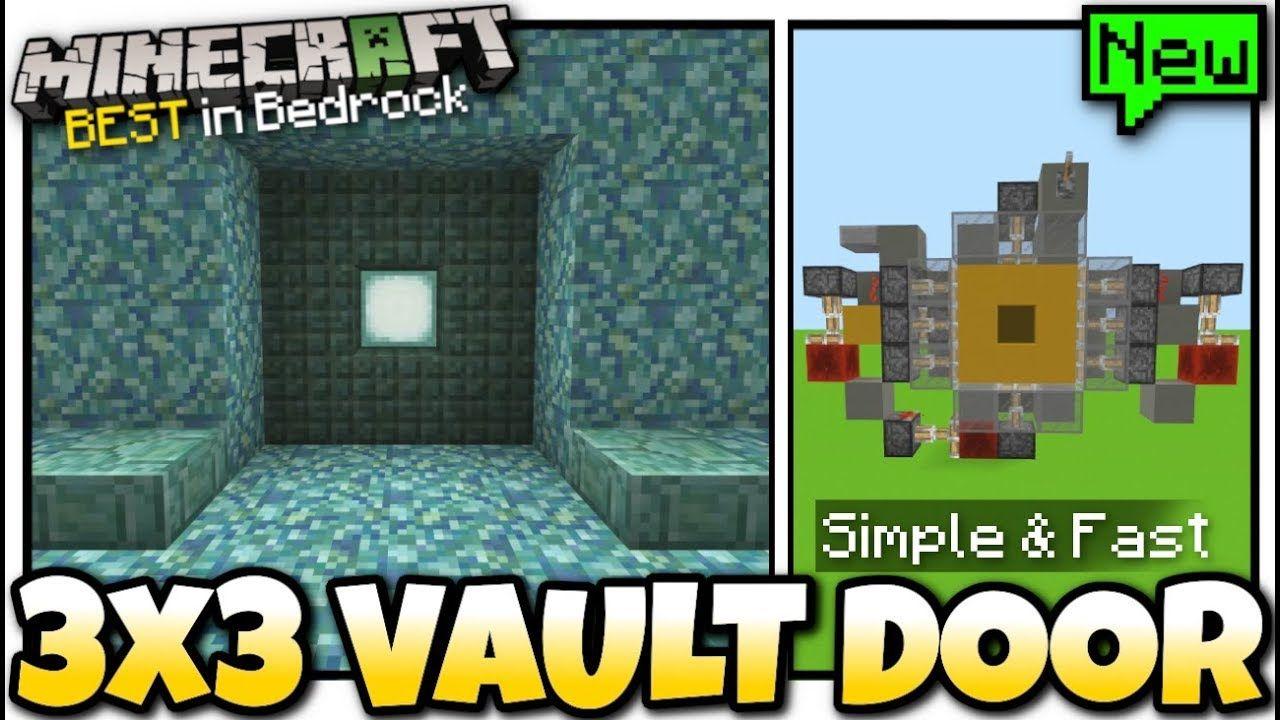 Minecraft 3x3 Vault Door Redstone Tutorial Mcpe Bedrock Xbox Vault Doors Vaulting Bedrock