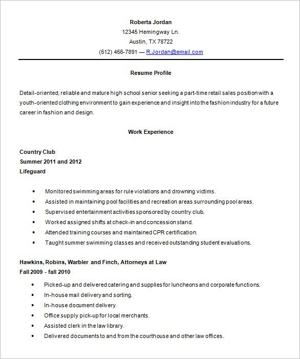 Download Free Resume Template High School Student Samples With