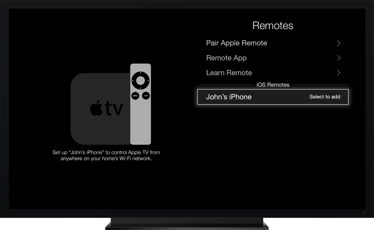 The Remote app in the Settings menu on Apple TV (2nd or