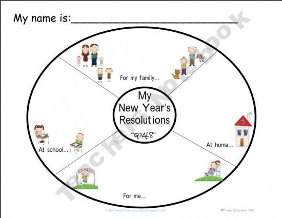 K-3rd Cool New Year's Resolutions graphic organizer for