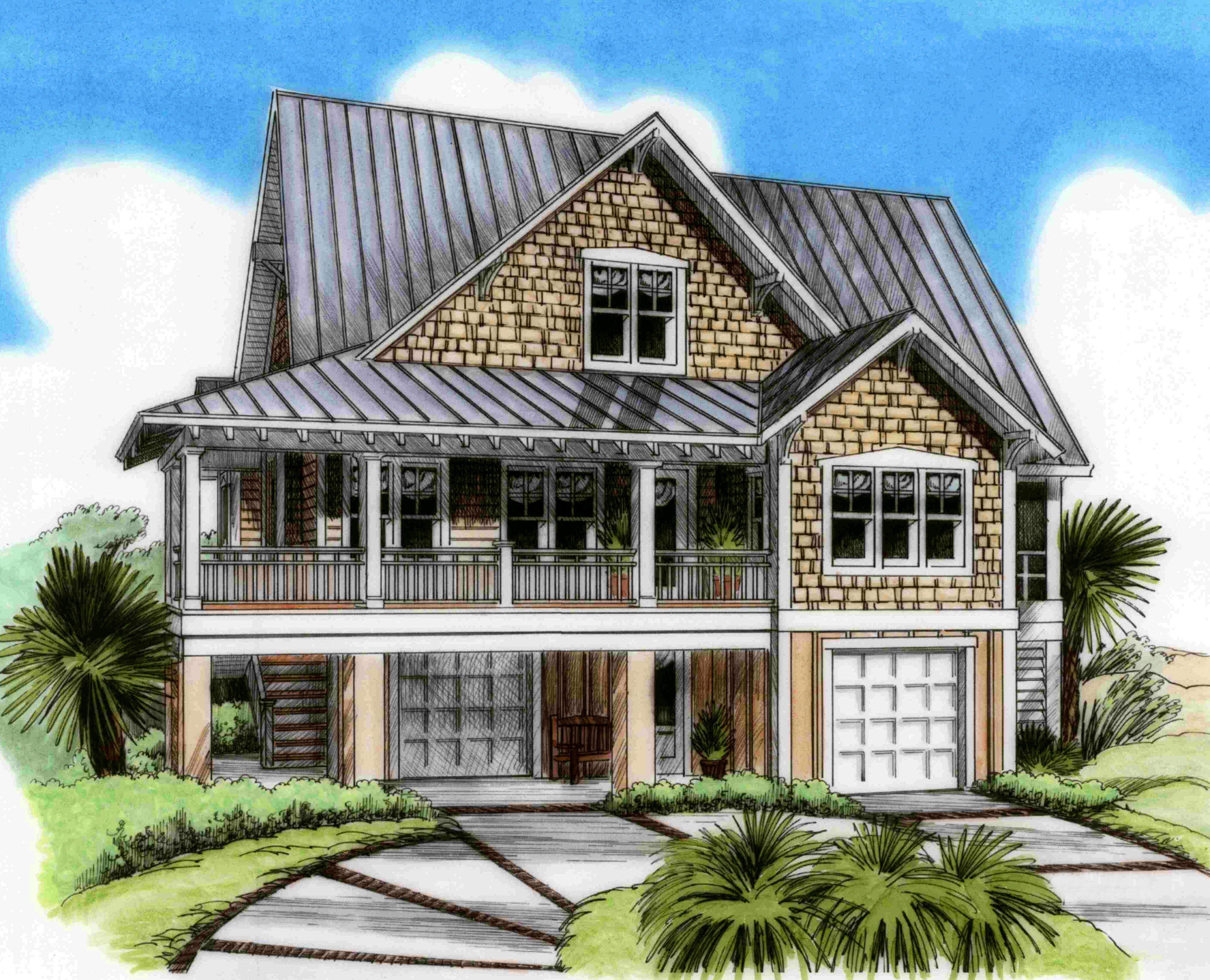 Plan NC Three Level Beach House Plan