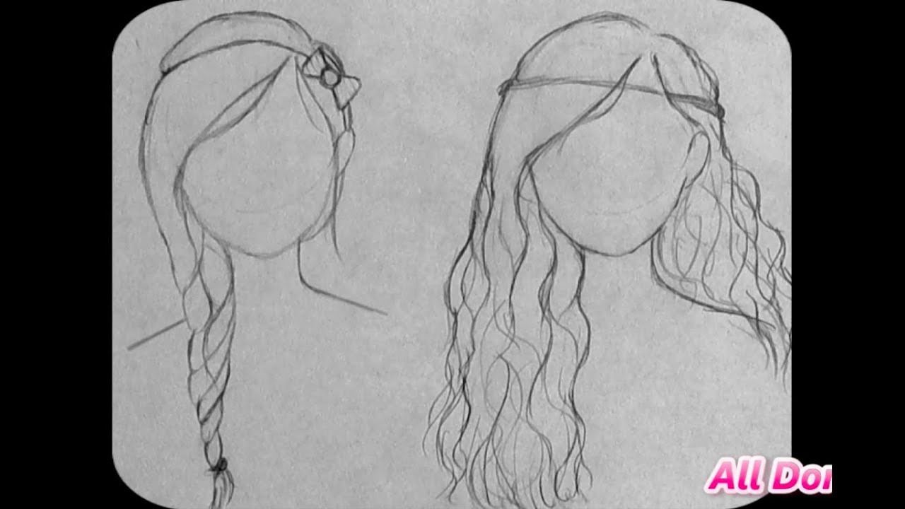 How To Draw Cute Hairstyles For Beginners Part Two Youtube How To Draw Hair Hair Sketch Cute Simple Hairstyles