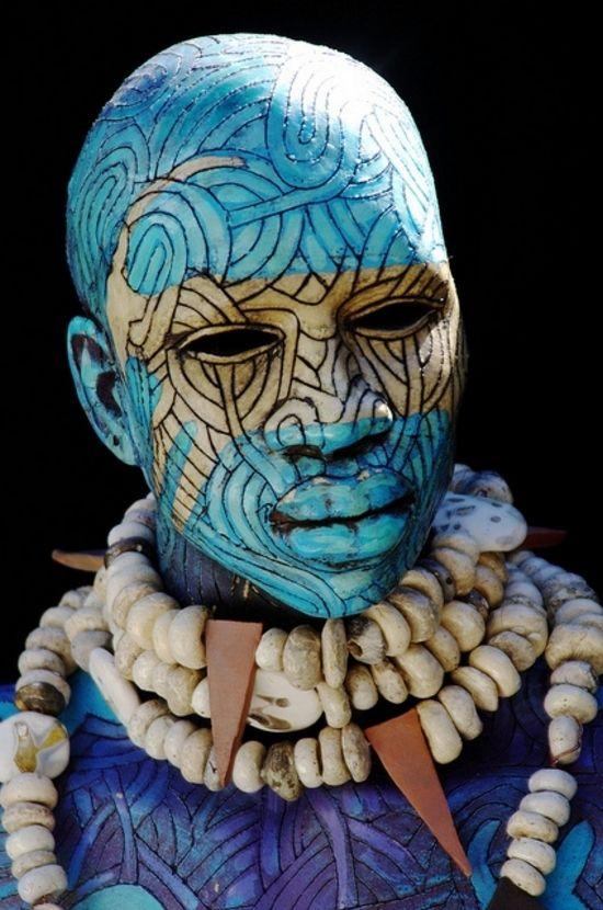 Blue Head Tribal Art African Art Body Painting
