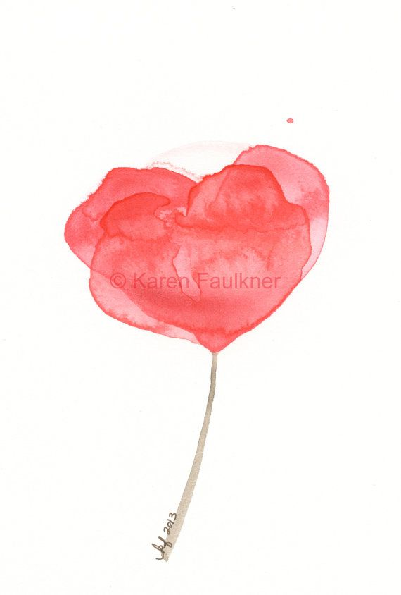 Fleur Rouge Watercolor By Karen Faulkner Watercolor Watercolor