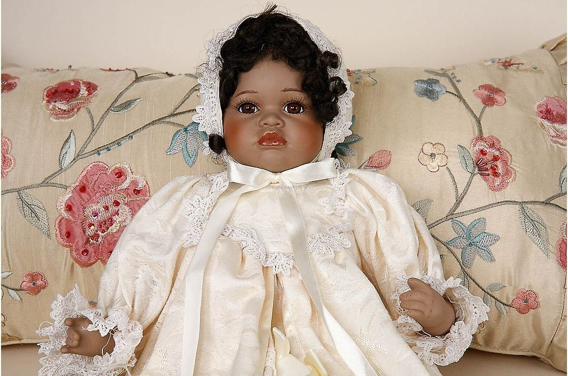Honey Christening African American porcelain collectible baby doll Seymour Mann