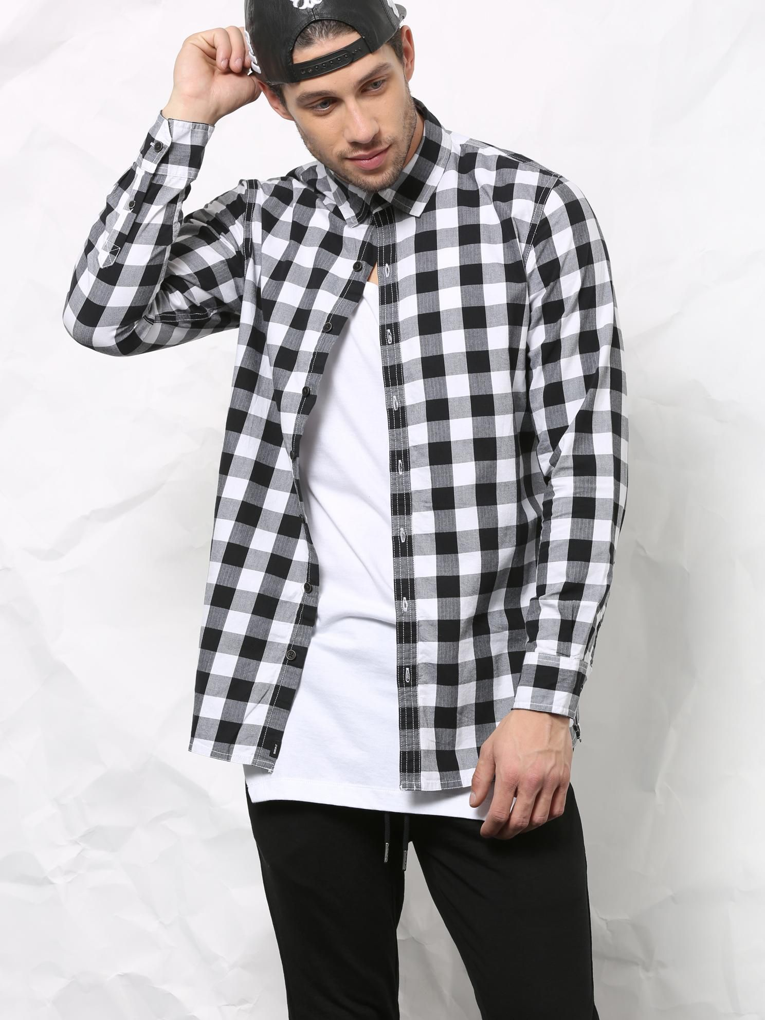 Buy SKULT Black & White Longline Side Zipper Shirt online. Stylish ShirtsBuffalo  CheckMen ...
