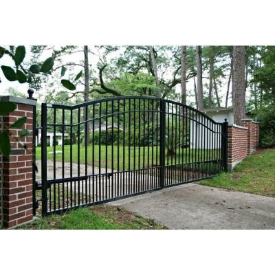 Mighty Mule Biscayne 14 Ft X 5 Ft 6 In Powder Coated Steel Dual Driveway Fence Gate G2714 Kit The Ho Driveway Fence Wrought Iron Driveway Gates Fence Gate