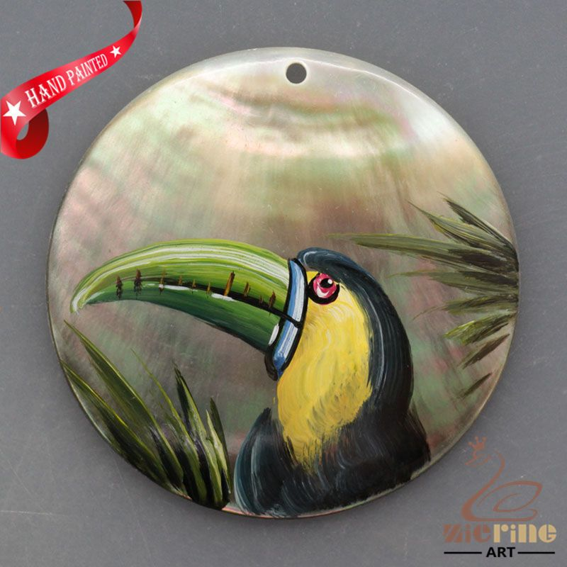 HAND PAINTED TOUCAN BIRD MOTHER OF PEARL SHELL NECKLACE PENDANT ZL30 06215 #ZL #PENDANT