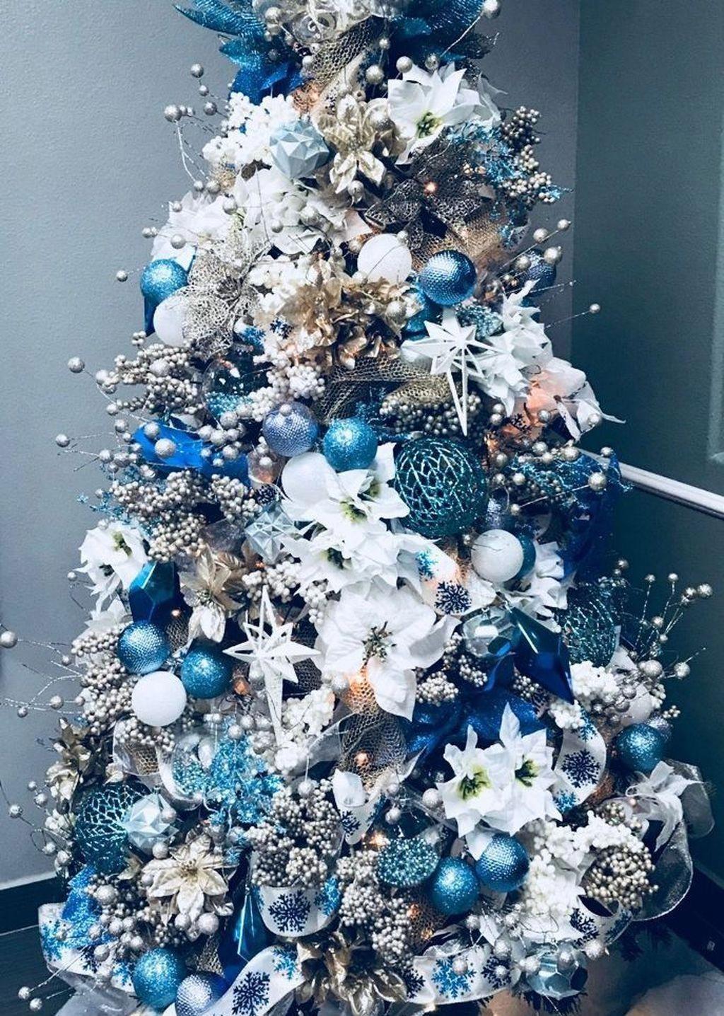 Awesome 46 Elegant Blue White Christmas Decor Ideas Outdoorchristmasdecor Blue Christmas Tree Decorations Christmas Tree Themes Elegant Christmas Trees