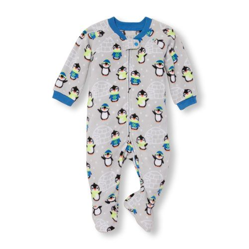 Baby Boys Baby And Toddler Boys Long Raglan Sleeve Chilly Penguin Print Blanket  Sleeper - Gray - The Children s Place 2585b64a8