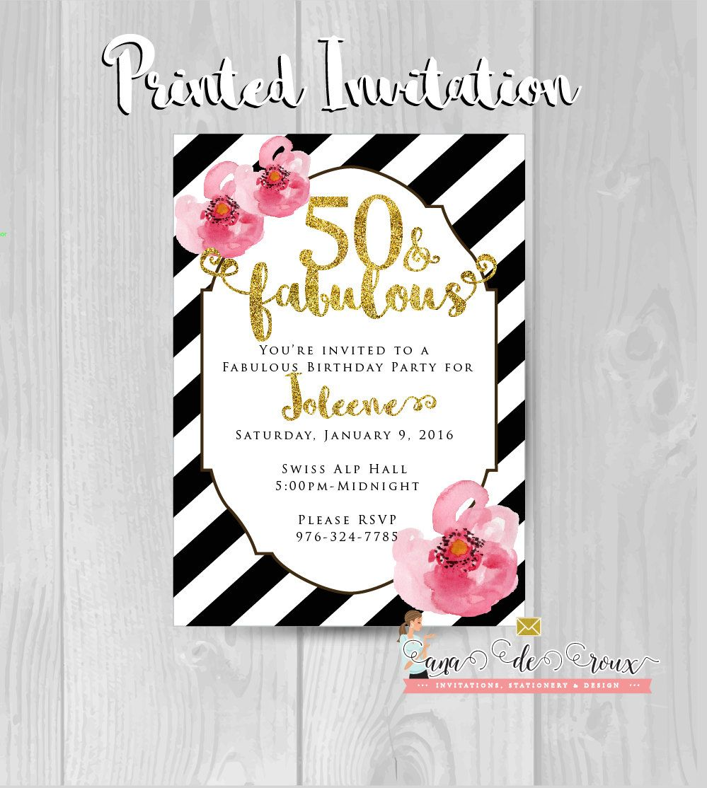 New to anaderoux on Etsy: Fifty and fabulous birthday invitation ...
