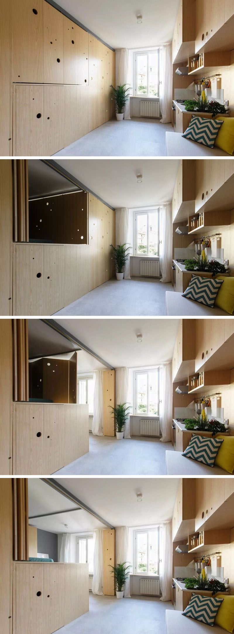 Bed and window placement  this tiny apartment has a wall that opens up to reveal the bedroom