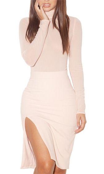 904c104b2f73 My Valentine Pink Long Sleeve Turtleneck Bodycon High Slit Midi Dress