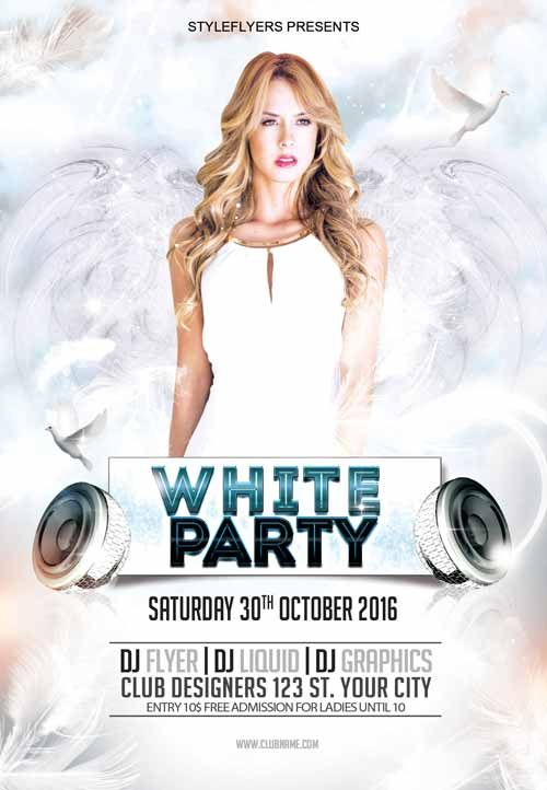 White Party Free Flyer Template - http://freepsdflyer.com/white-party-free-flyer-template/ Enjoy downloading the White Party Free Flyer Template by Styleflyers!  #Club, #Dj, #EDM, #Electro, #Event, #Girls, #Party, #Passion, #White