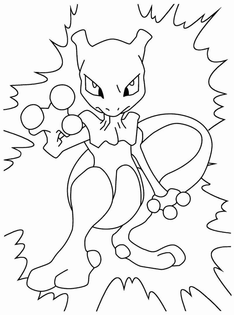 Mewtwo Pokemon Coloring Pages From Cartoon Coloring Pages Category