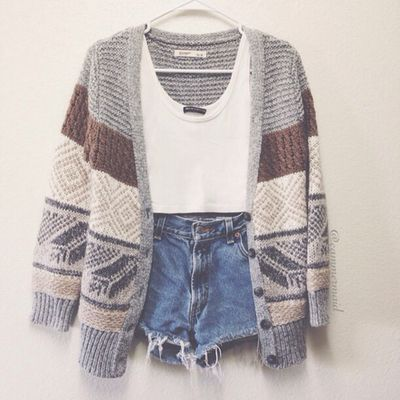 crop top with highwaisted short and cardigan; laid out outfit, cute teen  fashion