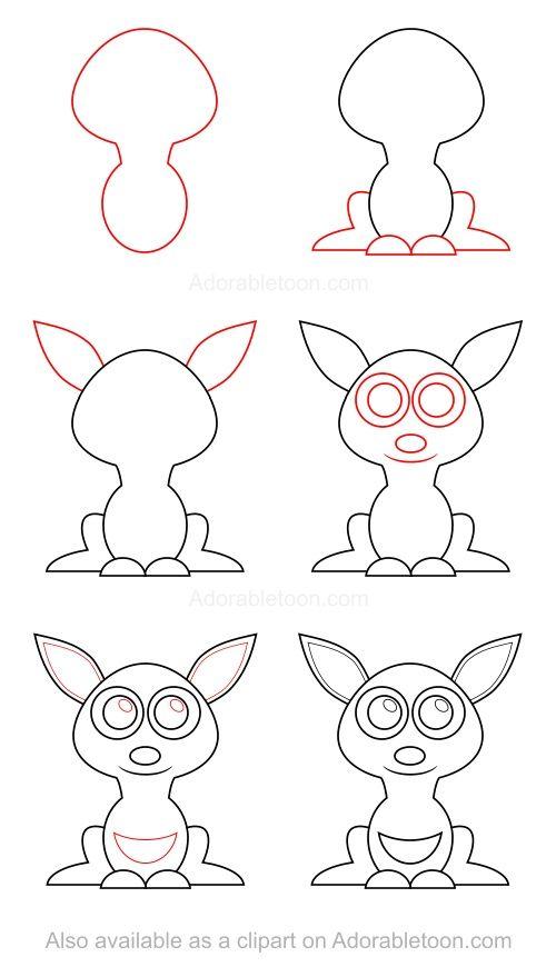 Kangourou apprendre dessiner dessin enfant - Dessiner un kangourou ...