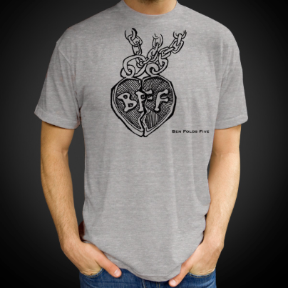 Ben Folds Five heather gray broken heart tee. This is a unisex style printed on an American Apparel tri-blend blank.
