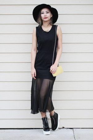 black blackfive boots - black younghungryfree dress - yellow Aldo bag