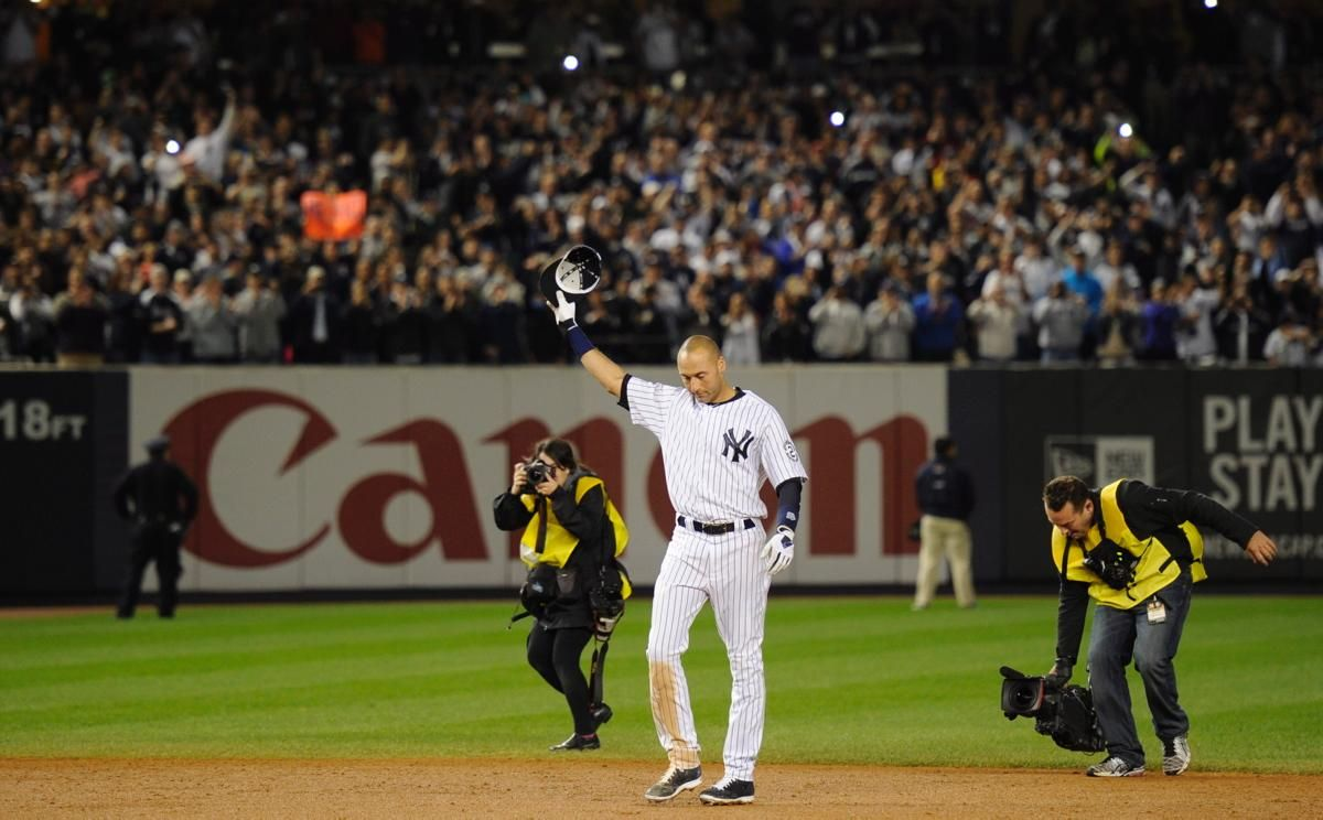 If It Were A Movie Script It Would Have Been Rejected For Being Too Unreal But Derek Jeter Drives In The Game Winning Run Yankees Yankee Stadium Derek Jeter