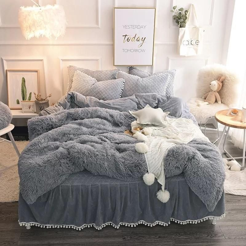 Black Friday Sale Luxury 4 Piece Faux Fur Bedding Set Fluffy